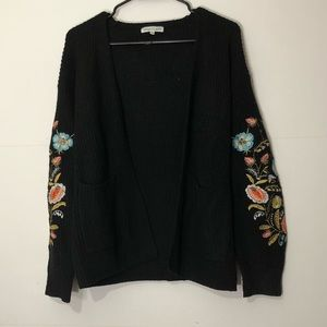 Woven Heart Embroidered Sleeve Cardigan